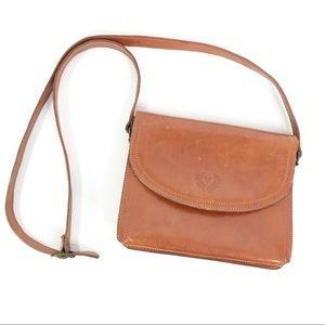 Firenza Brown Italian Leather Brown Crossbody Bag